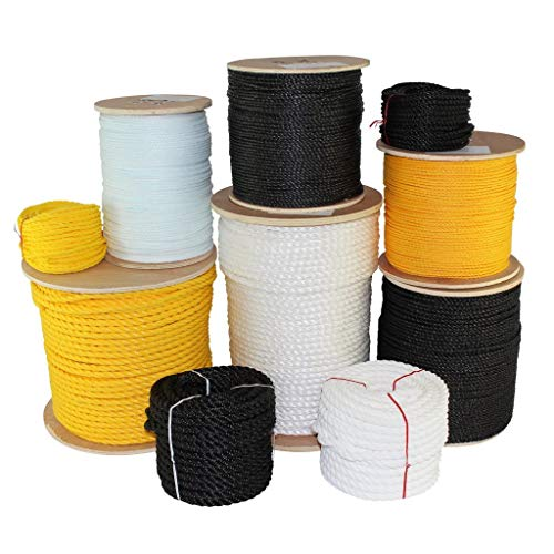SGT KNOTS Twisted Polypropylene Rope (1/4 inch - 3/4 inch) Floating Polypro - Moisture, Chemical, Oil, UV, Acid & Alkalis Resistant - Marine, Wet Weather, Nautical, Projects (50 ft - 1200 ft)