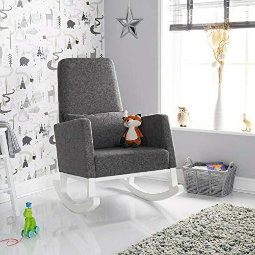 Obaby High Back Rocking Chair -White with Grey Cushions