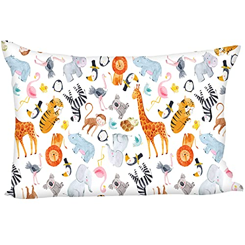 """HEGZI Toddler Pillow with 100% Soft Cotton Pillow Cover - Kids Animal Pillows - Plush - 12"""" x 18"""" - Children Pillows for Sleeping - Baby Cushion for Bedding, Bed Set, at School - Pack of 1"""