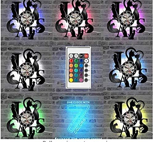 Reloj de pared de vinilo vintage con diseño de señora de belleza con pelo largo y estilo vintage para salón de belleza, signo de negocios para mujer de peluquero con led-No_Led