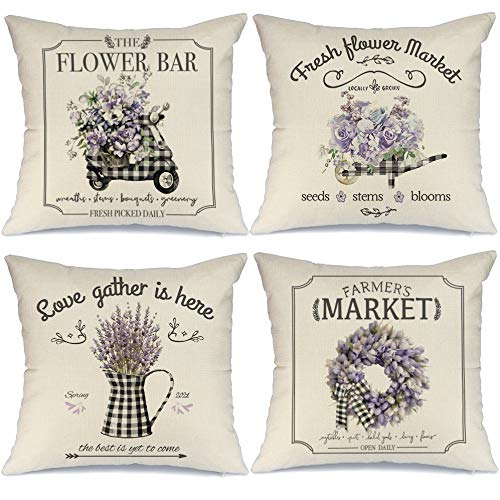 AENEY Spring Pillow Covers 18x18 Set of 4 Farmhouse Spring Decor Spring Decorations for Home Black White Buffalo Plaid Spring Wreath Flowers Spring Pillows Decorative Spring Throw Pillows A330-18