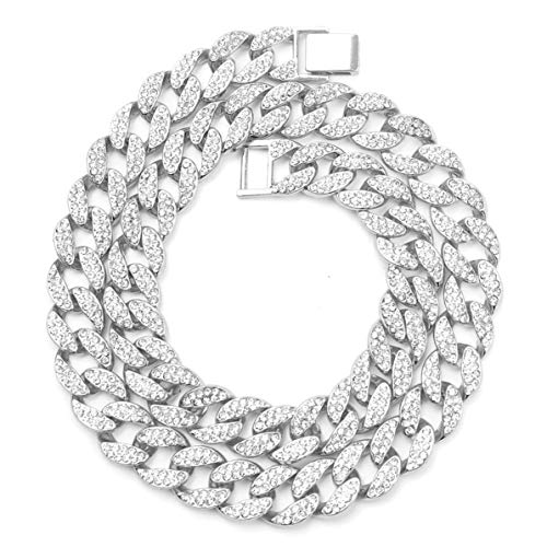 Rendeyuan Collar de Diamantes de Hip Hop para Hombre Accesorios de Rap de Hip Hop Hip-Hop Miami Cuba Moda Collar de joyería de Hip Hop - Plata - 60cm