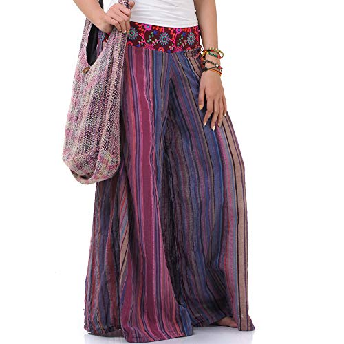 Hippie Jeans Hose Overall Haremshose Latzhose Pumphose für Damen 36 38 40 42 (Lila)