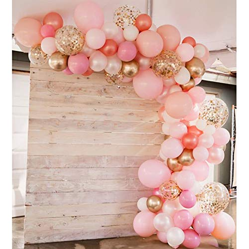 Soonlyn Rose Gold Balloons 115 Pack Gold and Pink Balloons and Pink Confetti Balloons Arch Kit for Bridal Shower Baby Shower Party Decoration