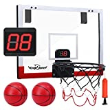 EagleStone Indoor Mini Basketball Hoop Sets for Kids Over The Door Toddler Basketball Hoop with 2 Balls, Electronic Scoring and Sounds, Wall Basketball Toy Gifts for Boys Girls & Teens Adults