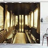 N\A Cortina de Ducha Antigua, Antiguo salón de Trenes Vintage Dentro de Ventanas de Transporte histórico con Cortinas en Forma de Arco, Juego de decoración de baño de Tela con Ganchos, marrón Claro