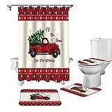 Duschvorhang-Set, 4-teilig, roter Weihnachtsbaum, LKW, Schneeflocken, Rentier-Bordüre, Badezimmer-Sets, wasserdicht, rutschfest, Badematte, WC-Deckelbezug & Konturmatte