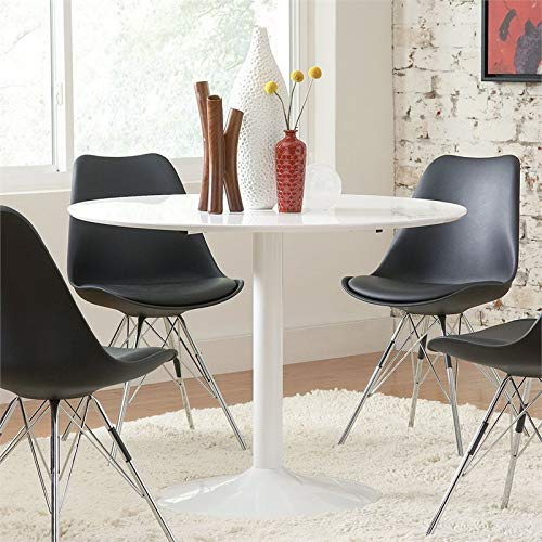 BOWERY HILL Modern 40' Round Dining Table Tulip Pedestal in White