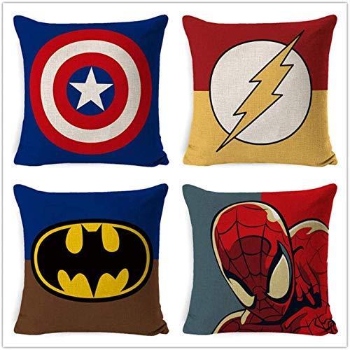Kkoqmw Funda de cojín Juego de 4 Piezas de Funda de Almohada de Lino Abrazo Serie de superhéroes de Dibujos Animados Superman Spiderman Batman Funda de Almohada