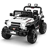 12V Kids Ride On Truck, 4 Motors Battery Powered Electric Vehicle with Remote Control, Bluetooth/ USB Music Player, Spring Suspension System, Storage Trunk, LED, 3 Speeds for Kids 3-6 Years(White)
