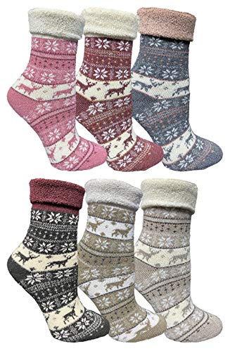 Yacht amp Smith Womens Thick Soft Knit Wool Warm Winter Crew Socks Patterned Lambswool Sock Gift