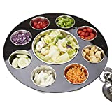 Mind Reader STAN-BLK 9 Compartment Salad Serving Tray, Fruit, Veggie & Condiment Caddy, Chips & Dips Holder for Party's, One Size, Black Acrylic