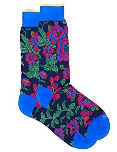 Duchamp London Maxi-Socken für Herbst/Winter 2019, Blumenmuster, Gr. 43-45, Marineblau