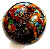 Healing Crystals India Natural Gemstone Chips Orgone Chakra Sphere Ball SB0258 50-60mm 1 Piece Multi Color by Healing Crystals India
