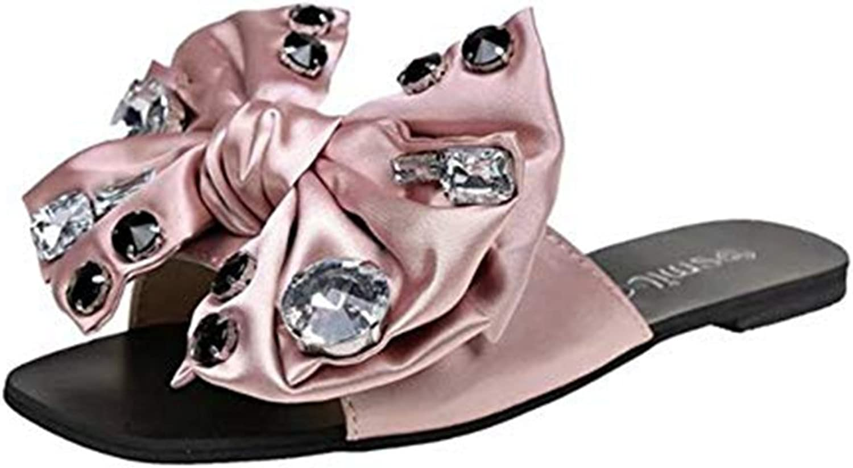 T-JULY Women's Bowknot Diamond Flats Slides Sandals Butterfly Rhinestone Open Toe Non-Slip Slip On Mule Lazy shoes