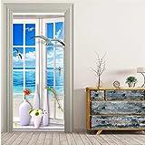 Etiqueta engomada de la puerta de la pared pintura ventana paisaje papel tapiz sala de estar baño PVC puerta impermeable pasta decoración del hogar etiqueta de la pared