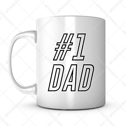 #1 Dad,Father's Gift Mug Ideas Funny Coffee Mug Quotes Sayings for Dad Father in Law Birthday Gift from Son Daughter,Ceramic 11OZ Personalized Tea Mug Dad Mug Gift Mug for Men (1)