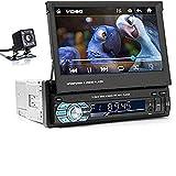 Unidad Principal con Bluetooth Estéreo para Automóvil de 1 DIN, Radio Automática con Pantalla Táctil 1080P de 7', Soporte AM/FM/USB/AUX/SD / MP5 + Cámara Retrovisora