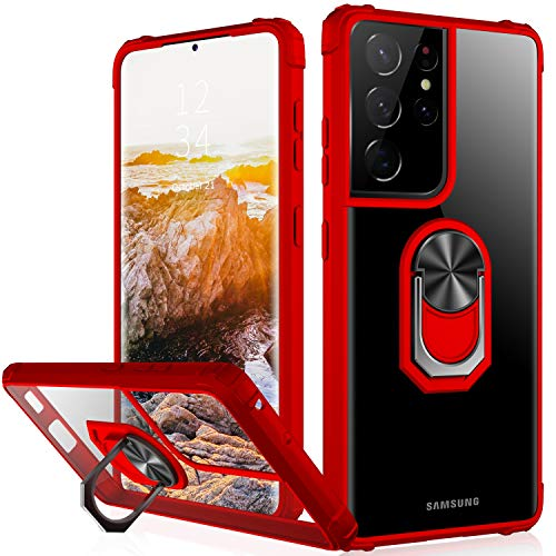 IKAZZ Galaxy S21 Ultra Case,Samsung S21 Ultra Cover Crystal Clear Anti-Yellow Shock Absorption Acrylic Protective Phone Case with Magnetic Ring Kickstand for Samsung Galaxy S21 Ultra,Red