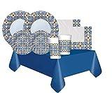DIMAV Kit n.42 Accessori Tavola in Carta Positano con i Motivi delle bellissime maioliche della costiera amalfitana nei Toni del Blu e del Giallo per Una tavola Elegante e raffinata