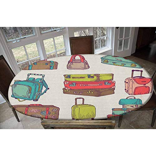 LCGGDB Elastic Polyester Fitted Table Cover,Colorful Suitcases Holiday Inspired Design Travelling Abroad Vintage Style Artwork Oblong/Oval Dinner Fitted Table Cloth,Fits Tables up to 48' W x 68' L