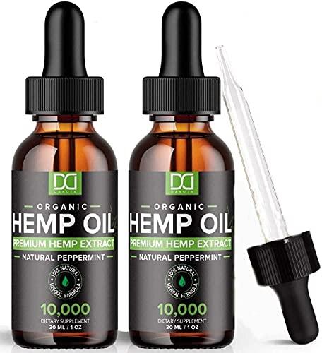 hb oils center hemp oils (2 Pack) 10000MG Hemp Oil for Pain Relief Inflammation Stress Sleep Focus Mood Skin Hair 20,000mg Total - Aceite de Cáñamo, Immune Support - Best Pure Natural Organic Hemp Seed Extract Tincture Drops
