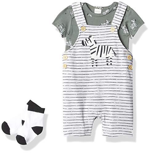 Petit Lem Baby 3Pc Set: S/S Diaper Shirt, Overalls + Socks Knit, 904 Lt.Heather Grey, 9M