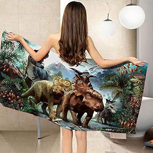 Qjkmgd Secado rápido Toallas de Playa Dinosaurio Mundo 70 x 150 cm Microfibra Playa Baño Toalla de baño Ligero Deportes de Viaje Gimnasio Toallas de Verano para Adultos niños (Size : 90 x 180 cm)