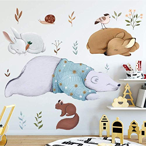 Magracy Polar Kaninchen und Eichhörnchen Tier Wandaufkleber Schlafzimmer Kinder Baby Zimmer entfernbaren Hintergrund Wandaufkleber Wandhauptdekoration