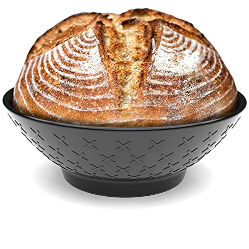 BreadX Banneton Proofing Basket - Modern Professional & Home Baking Tool - Sourdough Loaf & Artisan Bread Proving Brotform - Round Bowl with Spiral Patterns, No Odors, Splinters or BPA - 10 Inch