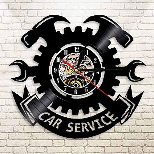 TJIAXU Garaje decoración de Pared Disco de Vinilo Reloj de Pared Herramienta Garaje reparación de automóviles reparación de automóviles Llave de Reloj de Pared llanta Reloj de Pared