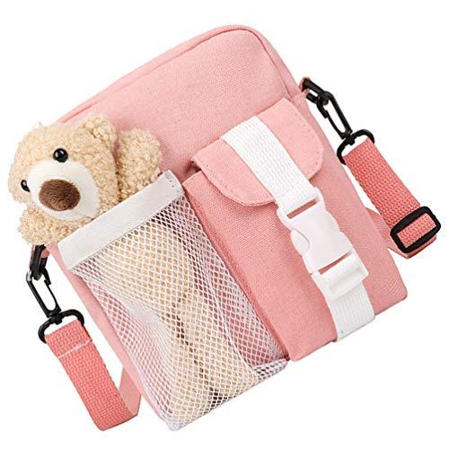 Amosfun Bolso de mensajería de lona con diseño de animales, estilo vintage, bolso cruzado y monederos, para ir de compras en la calle de la escuela, monedero, color rosa