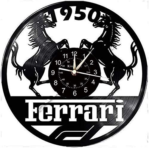 XINKONG Smotly Vinyl Wanduhr, Ferrari-Themenwanduhren und Uhren, kreative Geschenke for handgemachte Wanduhren