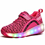 ZCOINS Girls Roller Shoes with Light Flashing Wheels Skate Sneaker for Kids Teens Pink