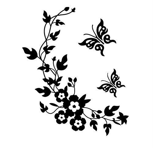SYT Wall Stickers 3D Papillon Fleurs Mur Autocollant pour Chambre d'enfants Chambre Salon réfrigérateur Autocollants décor à la Maison Bricolage