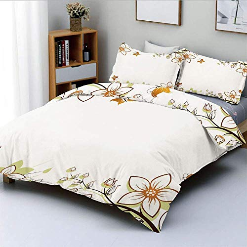 Duvet Cover Set,Flowers Leaves Branches Buds Butterflies Frame like Image PrintDecorative 3 Piece Bedding Set with 2 Pillow Sham,Light Brown Pale Green White,Best Gift For Kids Easy Care Ant