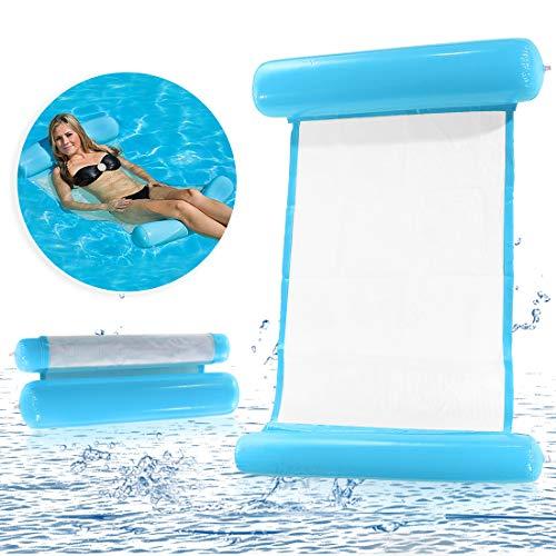O-Kinee Aufblasbares Schwimmbett Wasserhängematte Luftmatratze Schwimmende Wasser Schwimmliege Wasserliege, Swimmingpool luftbett, Frühlings Floss (Blau)
