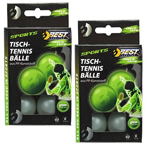Best Sporting Funbälle Spaßbälle Tischtennisbälle 12 Stück (2 x 6 St.), nachtleuchtend Glow in The Dark