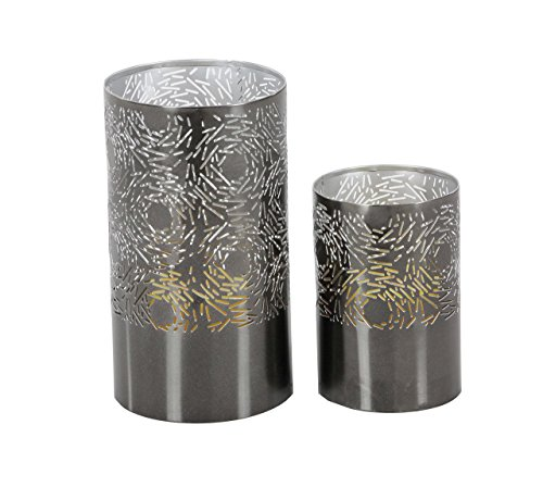 Deco 79 57361 Iron Cylindrical Candle Holders (Set of 2), 6' x 9', Gray