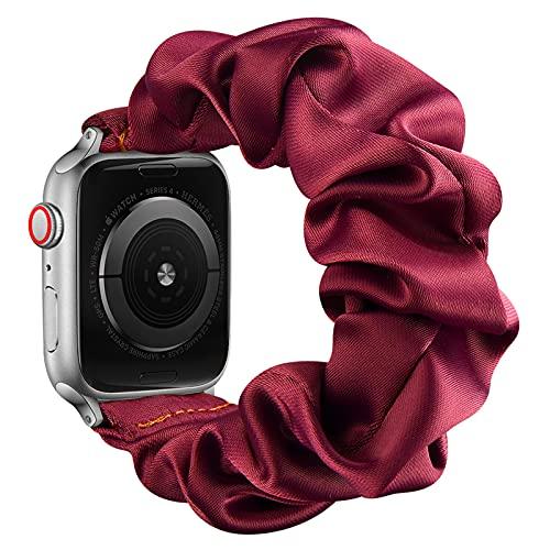 AdirMi Compatible con Apple Watch Series SE 6 5 4 3 2 1, bandas elásticas para Apple Watch para mujeres, bandas elásticas para Apple Watch 38/40 mm 42/44 mm, rojo, 42/44 mm (S)