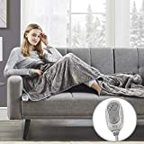 MP2 Heated Electric Throw Blanket with Dual Foot Pockets 3 Heating Levels 2 Hours Shutt Off Foot Throw 50' x 62' Plush Microlight, Machine Washable UL Certified, EMF Radiation Safe, Grey