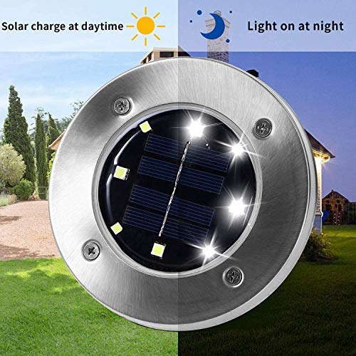 Otdair Solar Ground Lights, 8 LED Outdoor Solar Disk Lights, Waterproof In-Ground Lights, Solar Garden Lights, Landscape Lights for Pathway, Yard, Deck, Patio, Walkway, 12 Packs