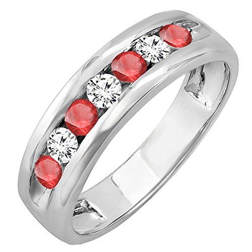 Dazzlingrock Collection Anillo de boda de oro de 14 quilates con piedras preciosas redondas y diamantes blancos para hombre.