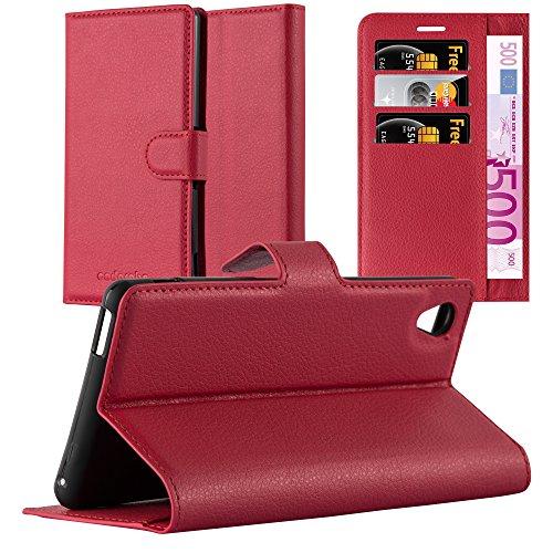 Cadorabo Hülle für Sony Xperia M4 Aqua in Karmin ROT - Handyhülle mit Magnetverschluss, Standfunktion & Kartenfach - Hülle Cover Schutzhülle Etui Tasche Book Klapp Style