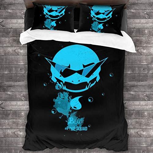 """KUKHKU Blue Poke Squad Squirtle Monster Of The Pocket, juego de cama de 3 piezas, funda de edredón de 86"""" x 70,Queen decorativa 3 piezas con 2 fundas de almohada"""