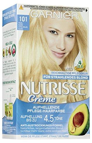 Garnier Nutrisse Creme Coloration Extra Helles Blond 101 / Färbung für Haare für permanente Haarfarbe (mit 3 nährenden Ölen), 3er Pack