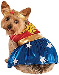 this adorable and very highly rated superhero dog costume comes in four sizes small medium large x large along with breed specific sizing instructions