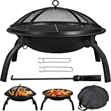 YAHEETECH Fire Pit 22in Folding Firepits BBQ Fireplace with Steel Grill, Cooking Grate and Poker for Outdoor Camping & Bonfire