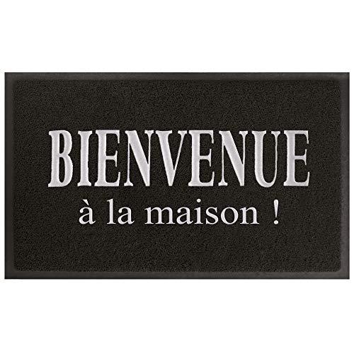 Tapis Deco 1740410 Maison Tapis d'Entrée PVC Noir/Gris 75 x 45 x 75 cm