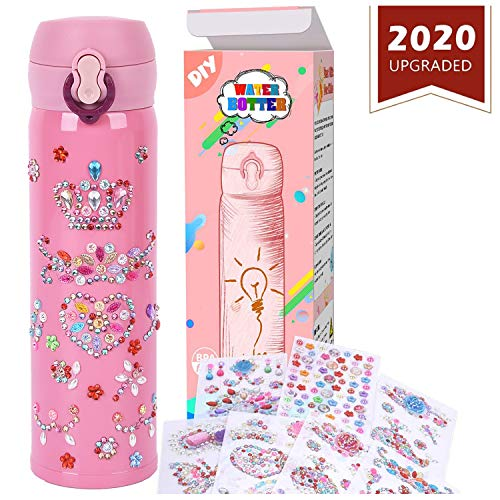 YOFUN Create Your Water Bottle with Tons of Rhinestone Gem Stickers - Craft Kit & DIY Art Set for Children, Gift for Girls - 17 OZ BPA Free Stainless Steel Vacuum Insulated Mug( Pink)